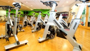 upright bikes in a gym